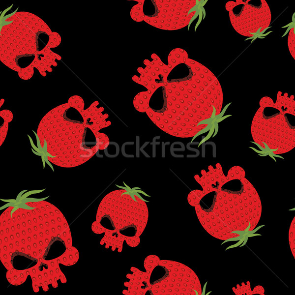 Strawberry skull seamless pattern. Red head skeleton with textur Stock photo © popaukropa