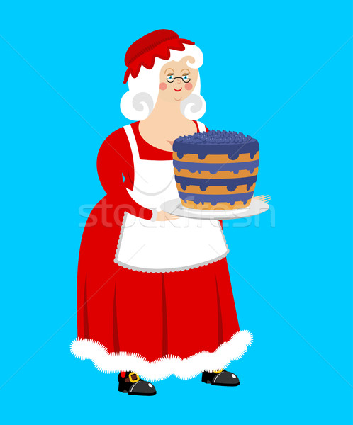 Mrs. Claus and blueberry cake. Wife of Santa Claus and dessert.  Stock photo © popaukropa