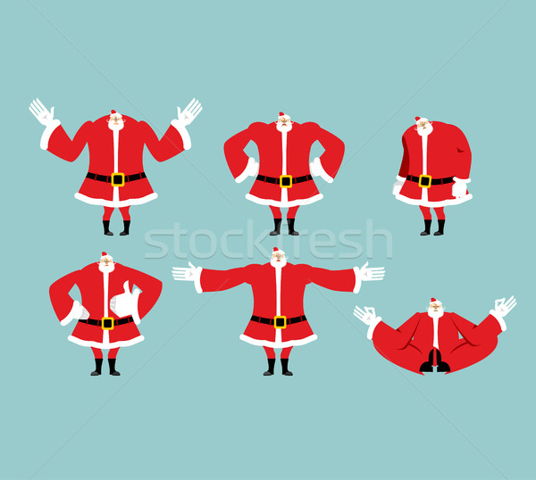 Santa pose set. Santa Claus collection. Good and evil. Cheerful  Stock photo © popaukropa
