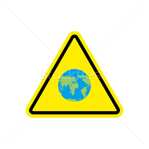 Earth Warning sign yellow. Planet Hazard attention symbol. Dange Stock photo © popaukropa