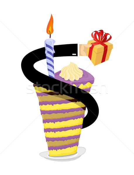 Születésnap darab torta gyertya kéz ad Stock fotó © popaukropa