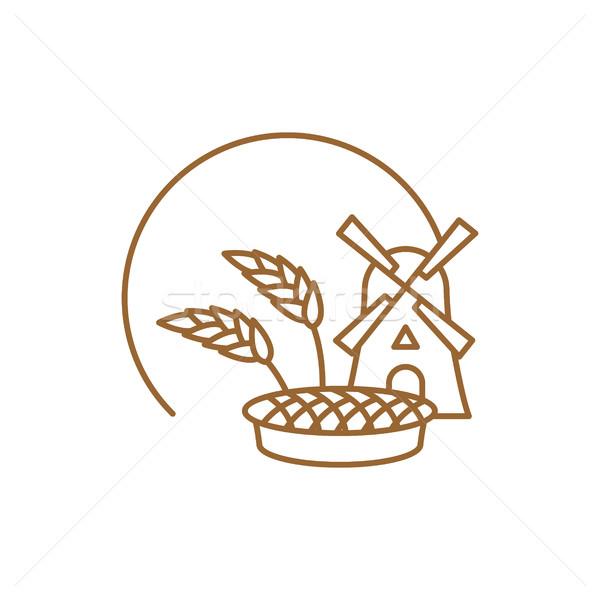 Bakery logo linear style. Store bread emblem. bakehouse sign. Mi Stock photo © popaukropa
