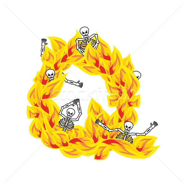 Letter Q hellish flames and sinners font. Fiery lettering. Infer Stock photo © popaukropa