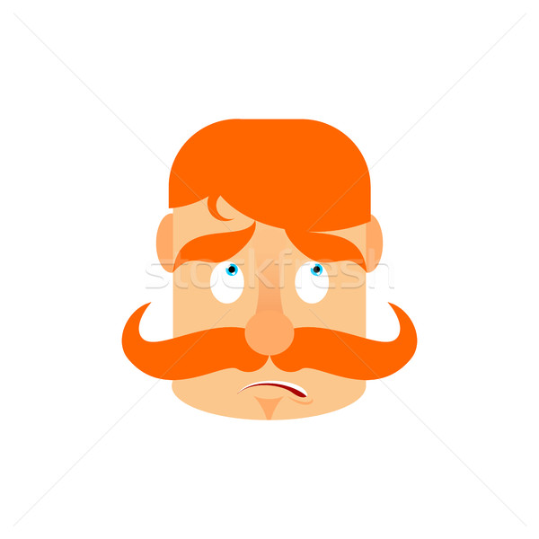 Vintage Irishman with red mustache surprise Emoji. Retro Men fac Stock photo © popaukropa
