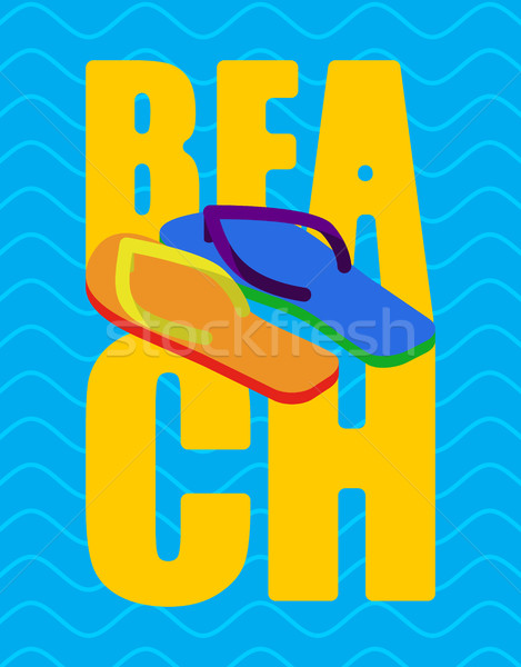 LGBT beach sign. slippers rainbow of color. Summer Shoes Gay and Stock photo © popaukropa