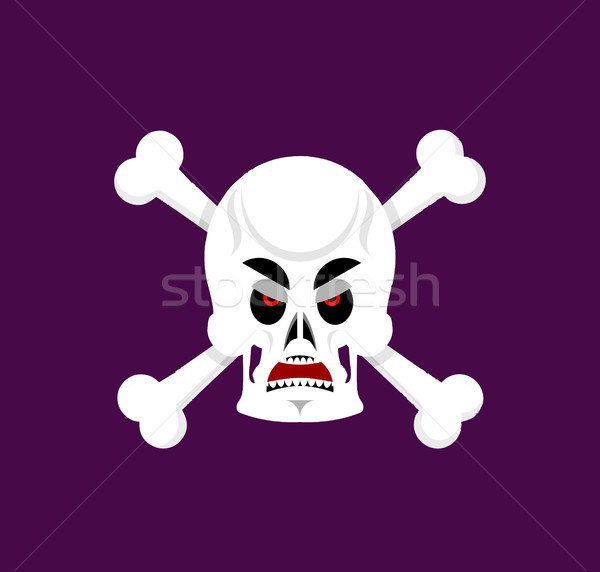 Skull and crossbones angry Emoji. skeleton head grumpy emotion i Stock photo © popaukropa
