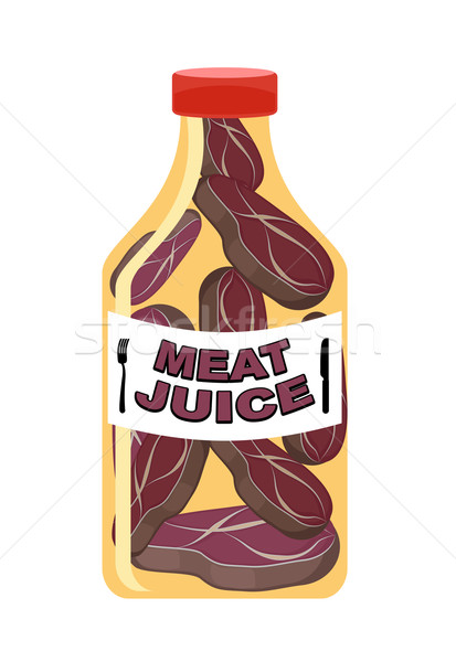Meat juice in a transparent bottle. Drink for men. Funny cartoon Stock photo © popaukropa