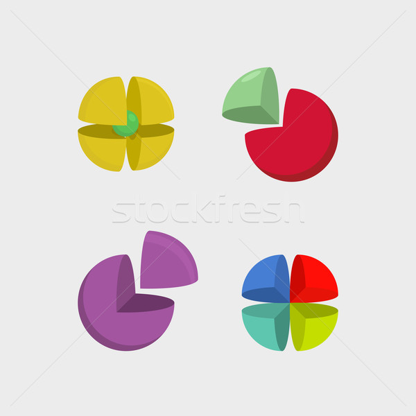 Set  logo sphere. 3d abstract ball logos. Scope of  segments. Ve Stock photo © popaukropa