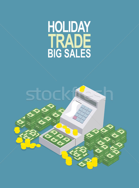 Feast day of trade. Open ticket office with a lot of money. Sell Stock photo © popaukropa