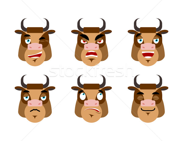 Emotions cow. Set expressions avatar bull. Good and evil. Discou Stock photo © popaukropa