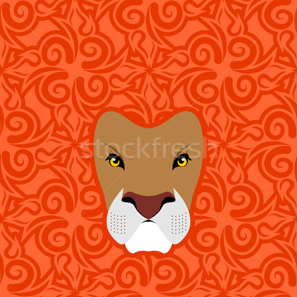 Lion Abstract emblem. Mane Oriental ornament. wild animal Stock photo © popaukropa