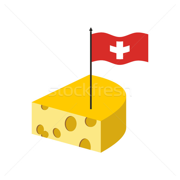 Swiss cheese. Delicatessen dairy product and flag of Switzerland Stock photo © popaukropa