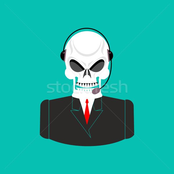 Halál ügyfélszolgálat koponya headset csontváz visszajelzés Stock fotó © popaukropa