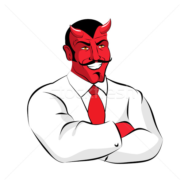 Satan boss. Devil businessman in white suit. Red demon with horn Stock photo © popaukropa