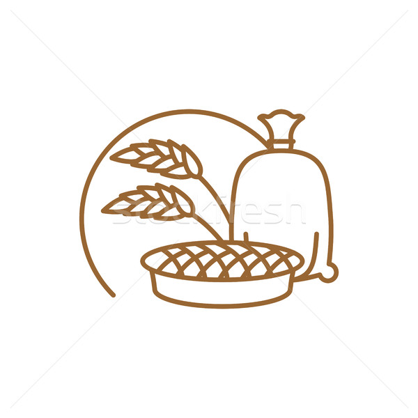flour bag and pie Line icon. Sign for production of bread and ba Stock photo © popaukropa
