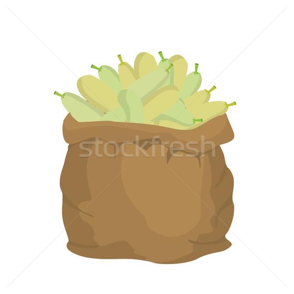 Courgettes toile de jute sac sac légumes grand Photo stock © popaukropa
