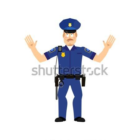 полицейский удивленный изолированный полицейский эмоций человека Сток-фото © popaukropa