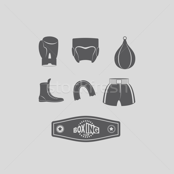 Set icons Boxing, kick boxing. Boxing equipment: gloves and helm Stock photo © popaukropa