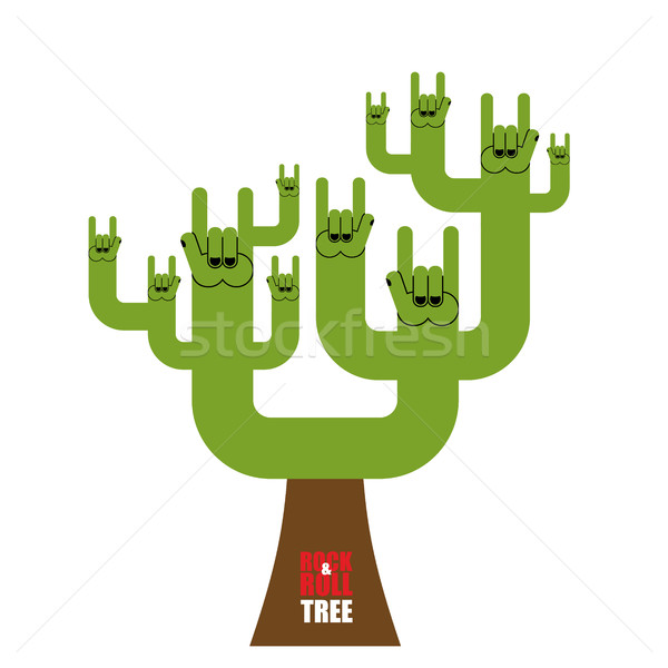 Rock and roll tree. Fantastic tree from rock hand sign. Plant fo Stock photo © popaukropa