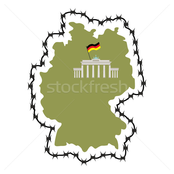 Map Of Germany. Map of States with barbed wire. Country closes b Stock photo © popaukropa