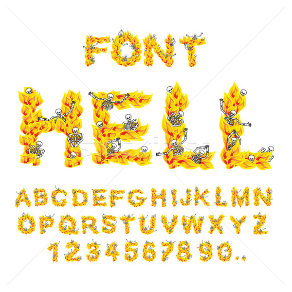 Stock photo: Hell font. inferno ABC. Fire letters. Sinners in hellfire. helli