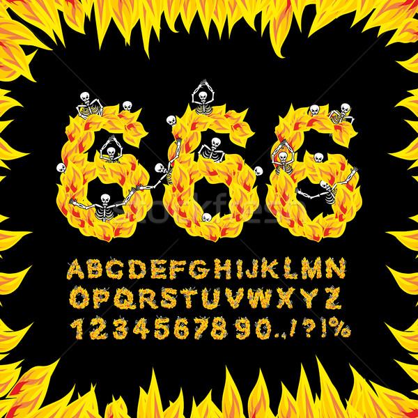 Fuente infierno fuego cartas ardiente alfabeto Foto stock © popaukropa