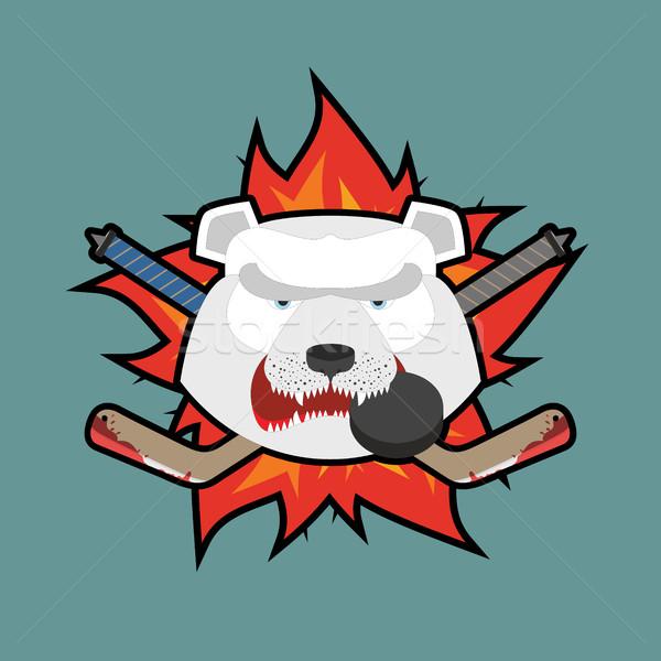 Ayı hokey logo dizayn arka plan buz Stok fotoğraf © popaukropa