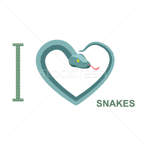 Amour serpents symbole coeur serpent python Photo stock © popaukropa
