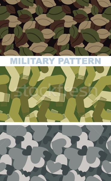Zestaw wojskowych kamuflaż tekstury armii wzór Zdjęcia stock © popaukropa