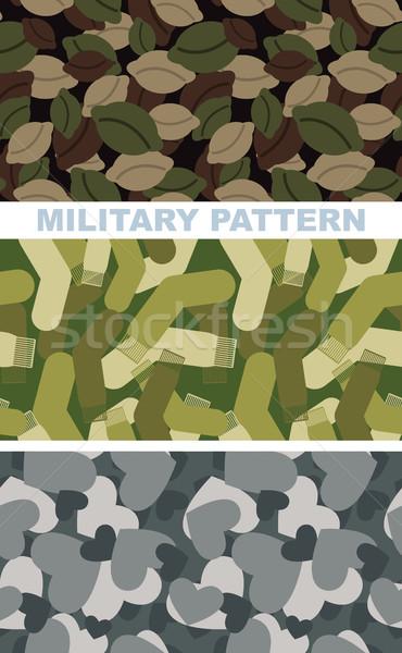Ingesteld militaire camouflage textuur leger patroon Stockfoto © popaukropa