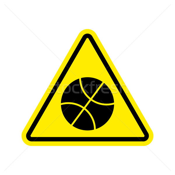 Basketball Warning sign yellow. game Hazard attention symbol. Da Stock photo © popaukropa