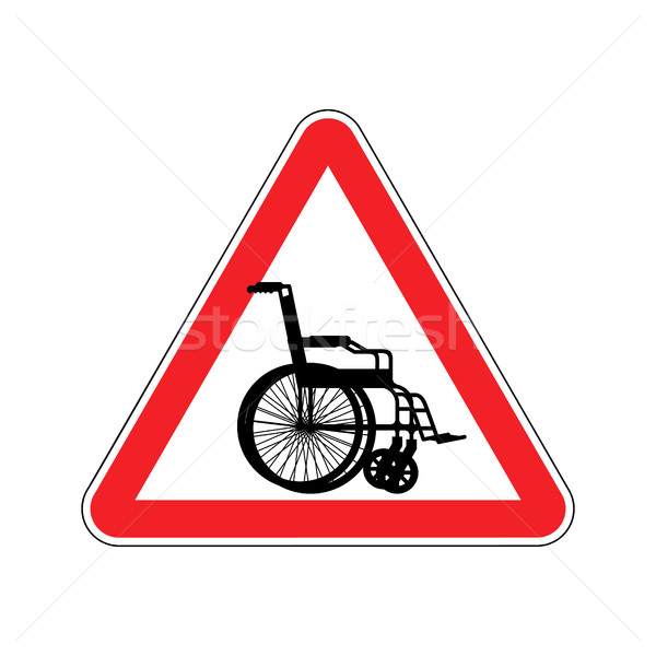 Warning invalid. Sign caution wheelchair on road. Danger way sym Stock photo © popaukropa
