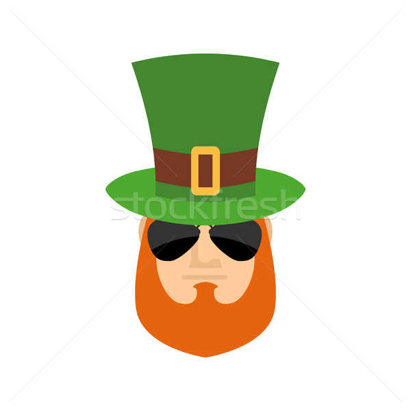 Leprechaun in green hat face. Head with Red beard. Portrait for  Stock photo © popaukropa