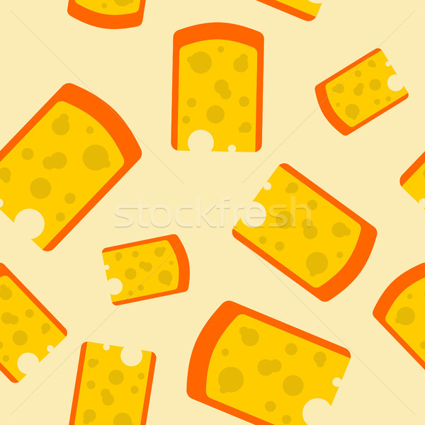 Cheese piece seamless pattern. Yellow dairy product background Stock photo © popaukropa