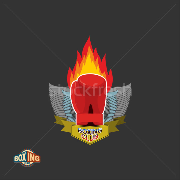 Boxe luvas de boxe emblema clube homem Foto stock © popaukropa