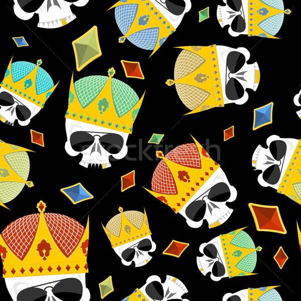 Street Kings. Gold Crown skull seamless pattern. Vector backgrou Stock photo © popaukropa