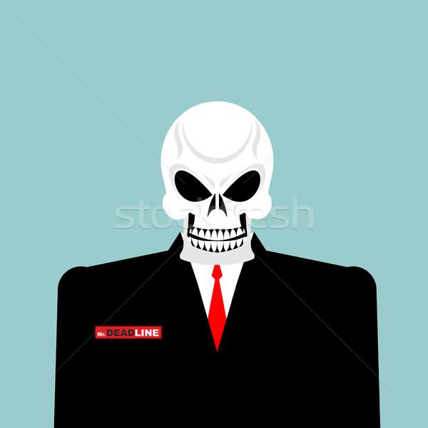 Prazo de entrega morte empresário terno esqueleto escritório Foto stock © popaukropa