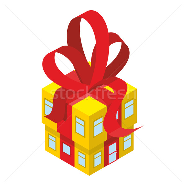 Building box gift with red bow. Yellow House with tape. In festi Stock photo © popaukropa