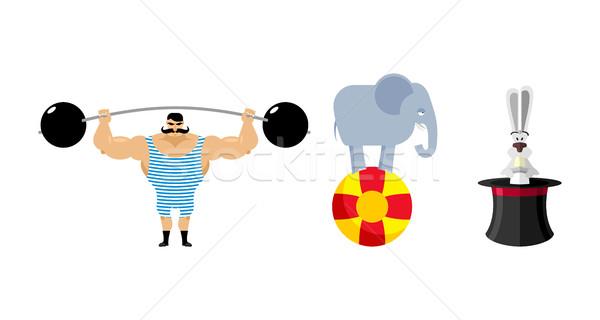 Circus set elements. Vintage circus strongman. Retro athlete wit Stock photo © popaukropa