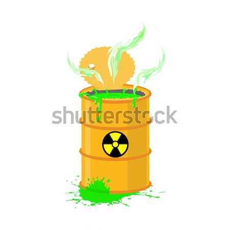 Yellow barrel with a radiation sign. Open container of radioacti Stock photo © popaukropa