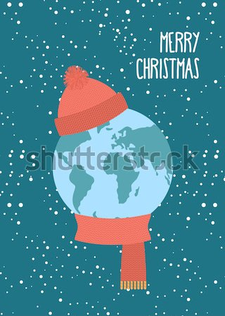 Stock photo: Earth of Santa Claus. World-new year. Earth with  beard and must