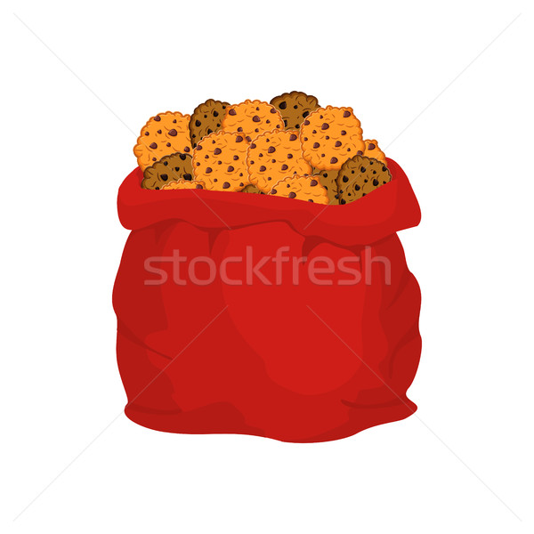 Santa bag of cookies. Christmas sack and cookie. New Year sweet. Stock photo © popaukropa