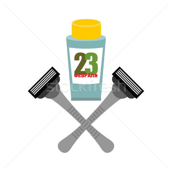Razor and tube of shaving gel. Presents for men. Symbol of milit Stock photo © popaukropa