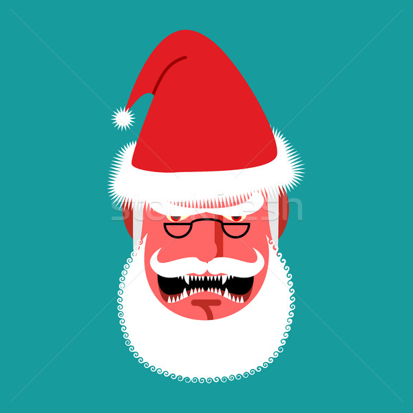 Angry Santa Claus. Red with anger people. grumpy shouts Stock photo © popaukropa