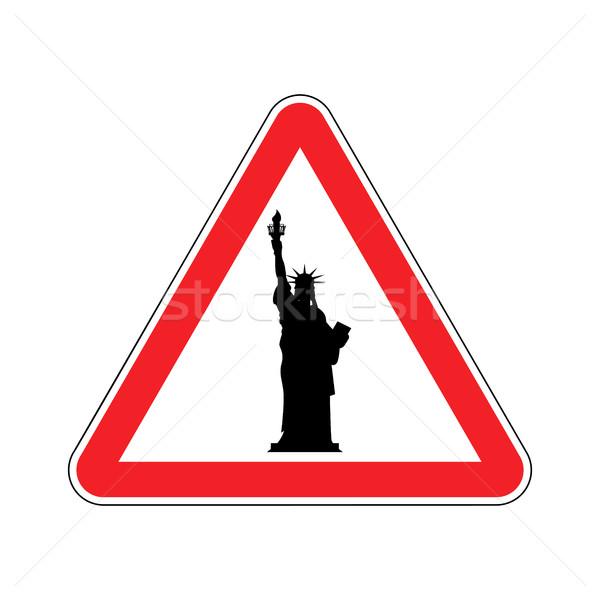 внимание Америки статуя свободы красный треугольник Сток-фото © popaukropa