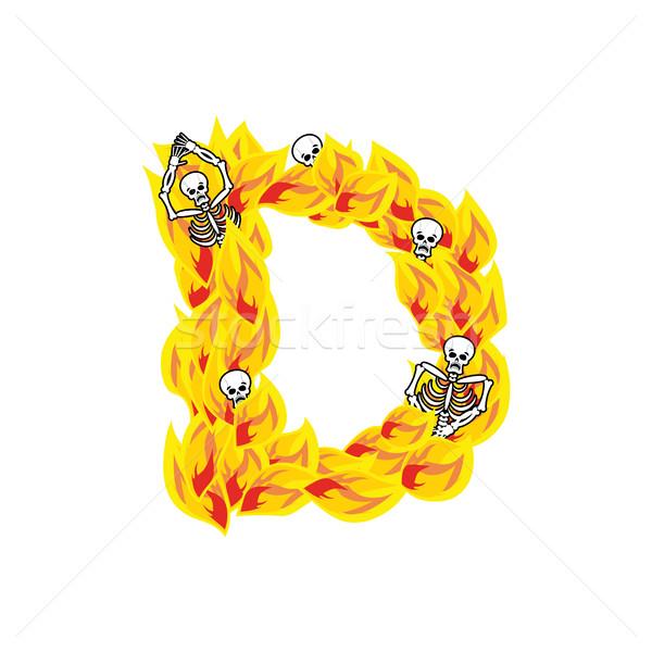 Letra d llamas fuente ardiente fuego alfabeto Foto stock © popaukropa