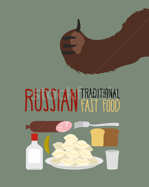 Russian traditional fast food. Bear approves. Vodka and dumpling Stock photo © popaukropa