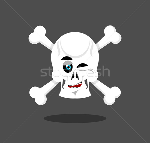 Laughing Skull winks emotion. Crossbones. Cheerful skeleton head Stock photo © popaukropa