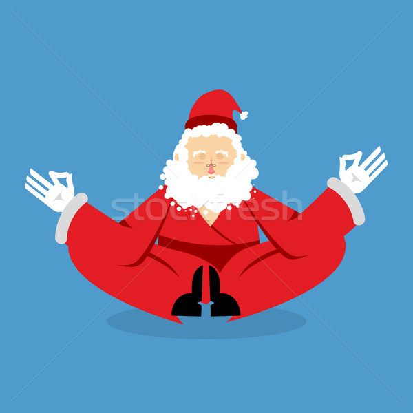 Santa meditating. Christmas yoga. Status of nirvana and enlighte Stock photo © popaukropa