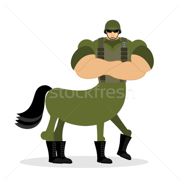 Centaur soldier in helmet. Military mythical creature. Half hors Stock photo © popaukropa